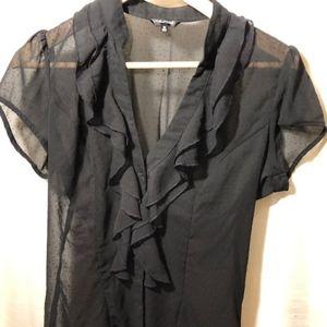 sheer ruffle front blouse - sz M